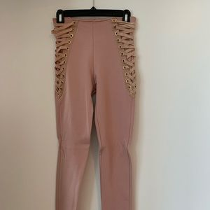 Pink Lace Up Leggings